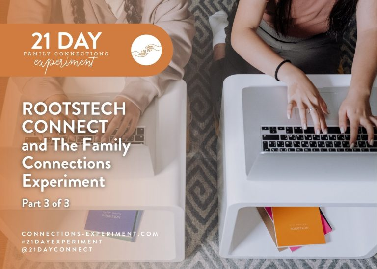 Rootstech connect and the family connetions experiment. Woman typing on a laptop.